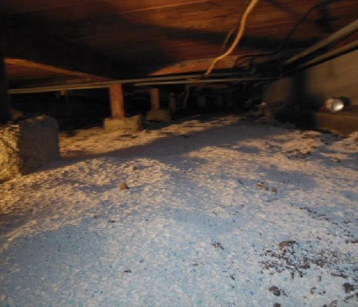 Sewage damage in crawlspace of house Manteca, CA After
